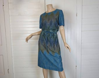 60s Blue Green Cotton Dress in Diamond & Flower Print- 1960s Shift- Medium