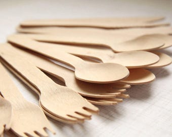 Party Set (150) Eco-Friendly Wooden Utensils SPOONS, FORKS, KNIVES  (50 each)  - Handmade Wedding // Birthday // Holiday // Craft Party
