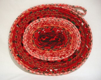 Rustic Red Christmas Coiled Fabric Candle Mat, Table Mat