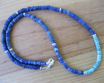 Lapis Heishi, Sterling Silver, Turquoise Heishi Necklace, Native American Necklace, Heishi Necklace, Tribal Necklace,Southwestern Necklace