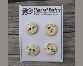 Ceramic Buttons 2-hole Round Textured Organic Design Pale Yellow (set of 4)
