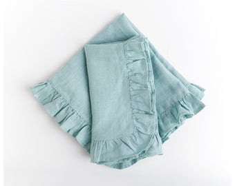 Ruffled linen napkins- set of 2. Romantic. Natural beauty. Art for your table. Mint linen napkins . Free shipping US retail orders.