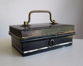 Vintage metal cash box with insert / petty cash, money or jewellery box with brass handle