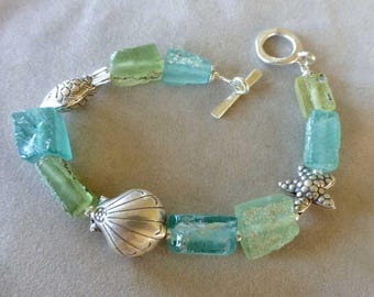 Roman Glass Bracelet, Ancient Roman Glass, Antique Glass, Sealife Glass Bracelet, Gifts for Her, Mother's Day