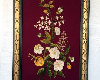 Vintage Framed Picture with Chenille Velvet Flowers Silk Embroidery Wool Back