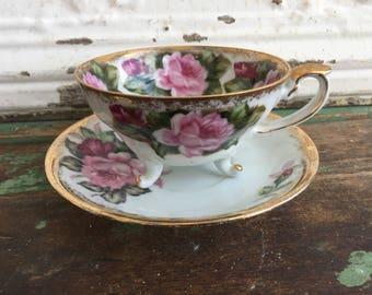 Vintage Footed Tea Cup Teacup & Saucer Big Pink Roses Heavy Gold Gilding