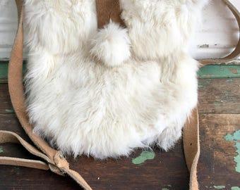 Vintage Rabbit fur Purse Leather Suede Strap Shoulder Crossbody Boho