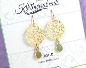 Jade Earrings, Green Jade Earrings, Gold Jade Earrings, Gemstone Earrings, Filigree Earrings, Dangle Earrings, Drop Earrings