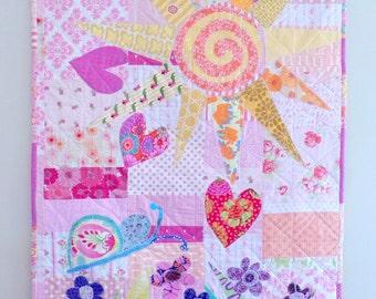 "Baby Quilt Pink Moon and Sunshine Garden ...Cotton Quilt or Wall Hanging 40"" x 50"" Designer Cottons betrueoriginals"