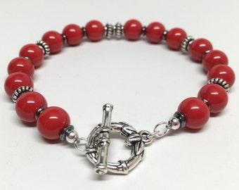 Red Bracelet, Red Swarovski Crystal Pearl Bracelet, Red & Silver Bracelet, Red Pearl Bracelet