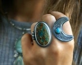 The Living Moon - Royston Turquoise Sterling Silver Moon Ring