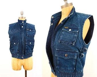 SALE vintage 80s dark DENIM 4 pocket JEAN vest M
