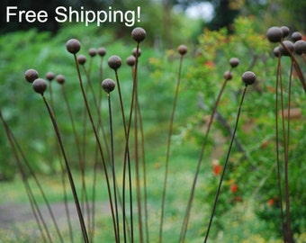 "Kinetic Metal Garden Art Sculpture Grouping of 7 -1""balls-The Original-Ball Weeds-FREE SHIPPING! Flower Pods"