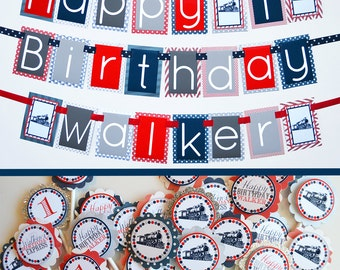Vintage Train Birthday Party Decorations in Navy Blue/Red/Silver Fully Assembled