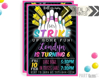 Neon Bowling Birthday Party Invitation | Digital or Printed | Bowling Invitation | Neon Bowling | Neon | Glow In The Dark Bowling | Glow