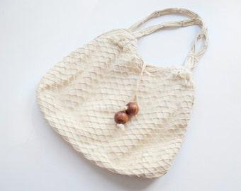 1970s Off White Fishnet Purse