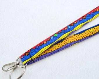 Happy Bugs Stripe Cute and Colorful Womens Lanyard Fabric Lanyard Breakaway Lanyard ID Badge Holder ID Clip Key Ring Fob Primary Colors
