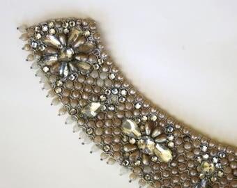 PEARL COLLAR // ornate 50s pearl and rhinestone collar