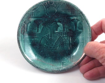 Hathor Goddess  Raku bowl in teal Pottery Ceramic