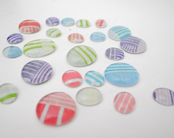 pastel stripes pattern magnet or push pin set - made from recycled magazines, stocking stuffer, hostess gift, graduation