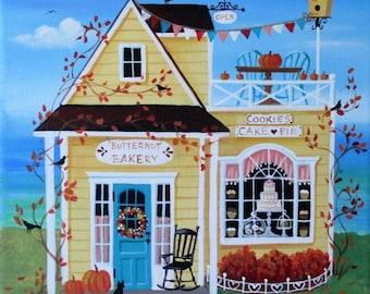 Butternut Bakery ORIGINAL Folk Art Painting FREE Shipping