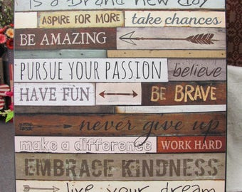 Family Wall Decor,Today Is A New Day,Marla Rae,Inspirational Family, 18x24,Wooden Sign