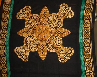 Brown Purple Green Celtic Knot Tapestry~Altar Cloth~Bed Cover