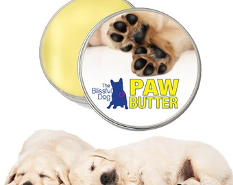 DOG PAW BUTTER All Natural Handcrafted Moisturizing Salve for Dry, Rough Dog Paw Pads Big One Pound 16 oz. Tin with Paw Label