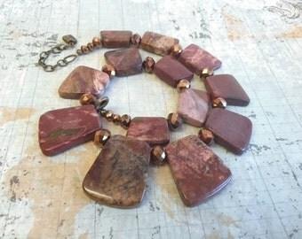 Big Bold Picasso Jasper Necklace, Gemstone Choker, Gemstone Collar Necklace and Earring Set