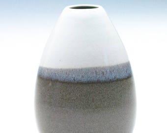 Tan Bright White Small Vase / Ceramic Vessel