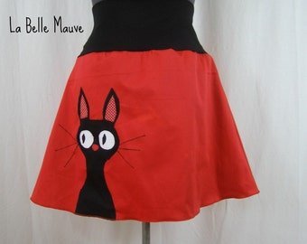 Jupe rouge Sadako chat noir