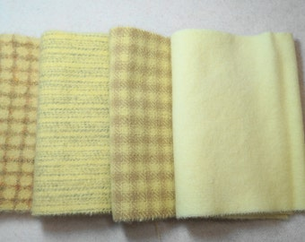 """Hand Dyed Wool Felt, Pastel Yellow Four 6"""" x 15-16"""" pieces, Perfect for Rug Hooking, Applique' and Crafting"""