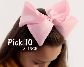 Big Bows, Jumbo Hair Bow, Pick 10, Lot Set of 10, Southern Style Bow, 6 7 or 8 Inch Bows, Texas Sized Bow, Girls Jumbo Bow, X-tra Large, SSB