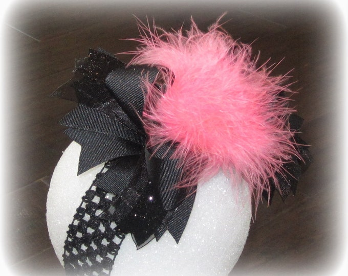 Over the Top Hairbow, Feather Hair Bow, Girls OTT Bow, Black and Pink Bow, Boutique Hairbow, Pageant Hair Bow, Large Bows, Big Hairbows,