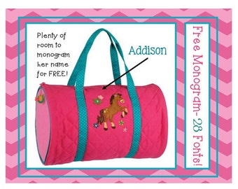 28 Fonts- Personalized Pink HORSE Girl's Quilted DUFFLE BAG by Stephen Joseph Free Monogram