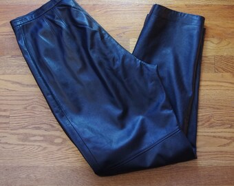 Vintage Black Leather High Waisted  Liz Claiborne Pants size 16 large