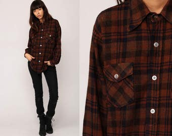 Wool Flannel Shirt Brown Plaid 70s Grunge Long Sleeve Button Up 1970s Vintage Lumberjack Hipster Retro Medium Large