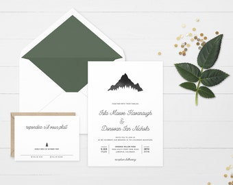 The 'Kendall' Watercolour Mountain Wedding Invitation Suite (Sample)
