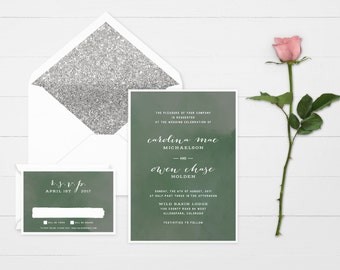 The 'Jeanie' Romantic Watercolour Wedding Invitation Suite (Sample)