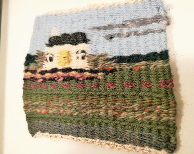 Cottage handmade tapestry weaving framed