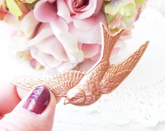 Rose Gold Sparrow Hair Barrette - Bird Hair Barrette - Sparrow Hair Barrette - Woodland Hair Barrette - Woodland Wedding Hair Barrette