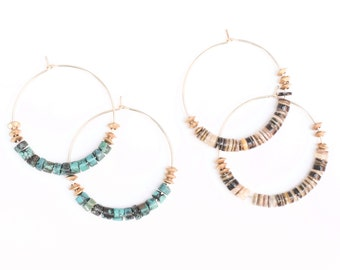 Portal Earrings - Stone hoops with turquoise or oyster shell gold fill