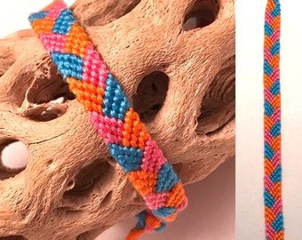 SALE - Friendship bracelet - braided - pink - orange - blue - embroidery floss - woven - macrame - knotted - cotton - string - thread