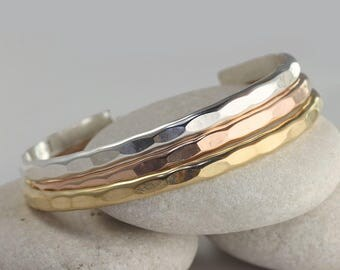 3 Wide Stacking Cuffs in Sterling Silver, Rose Gold and Yellow Gold Fill