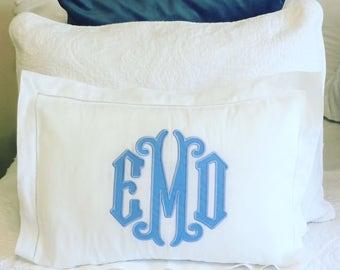 Monogrammed Applique Hemstitch Pillow