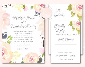 Printable Wedding Invitation, Wedding Invite, Watercolor Rose Floral DIY Invitation Suite, Blush, Pink, Cream | DIGITAL PRINTABLE
