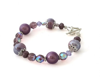 Purple Beaded Bracelet - Glass Bead Bracelet - Crystal Bracelet - Beaded Bracelets for Women - Mother of the Bride Bracelet - Gifts for Her