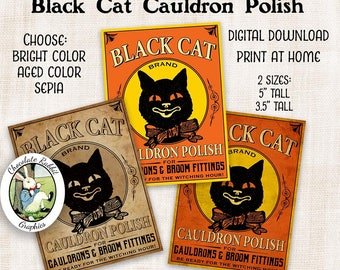 Halloween Potion Labels Cauldron Polish Vintage Style Digital Download Printable Black Cat Clip Art Halloween Tags