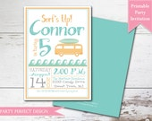 Vintage Surfer Boy Baby Shower Invitation - Print your own