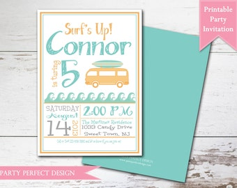 Vintage Surfer Boy Baby Shower Invitation - Print your own